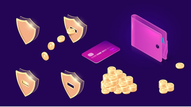 Geldoverdracht pictogrammen isometrisch Gratis Vector