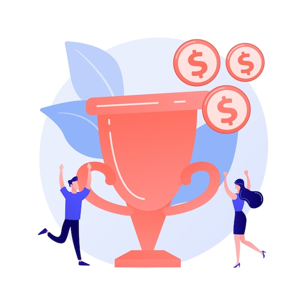 Geldprijs, trofee, verdiende beloning. teamsucces, kampioenschap, hoge prestatie. ontvangers van geldprijzen, winnaars van stripfiguren Gratis Vector