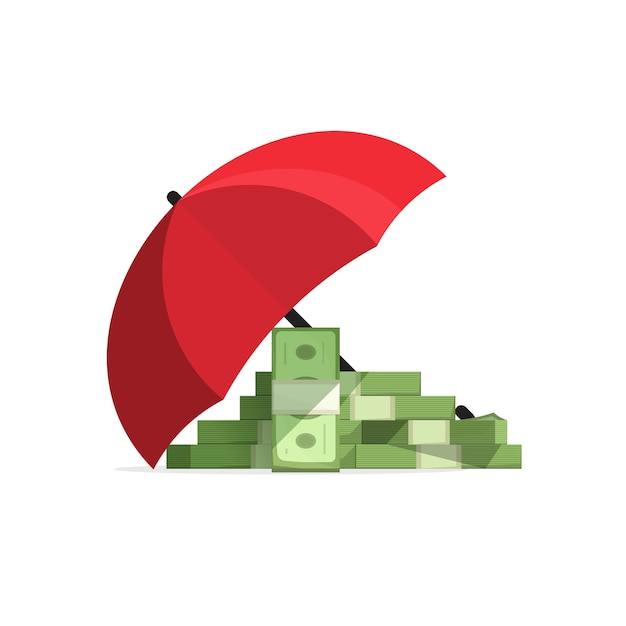 Geldstapel verzekerde dekking met paraplu, beschermd geld Premium Vector