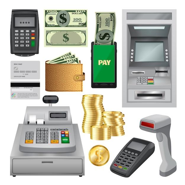 Geldtransacties mockup ingesteld. realistische illustratie van 10 geld transactie mockups voor het web Premium Vector