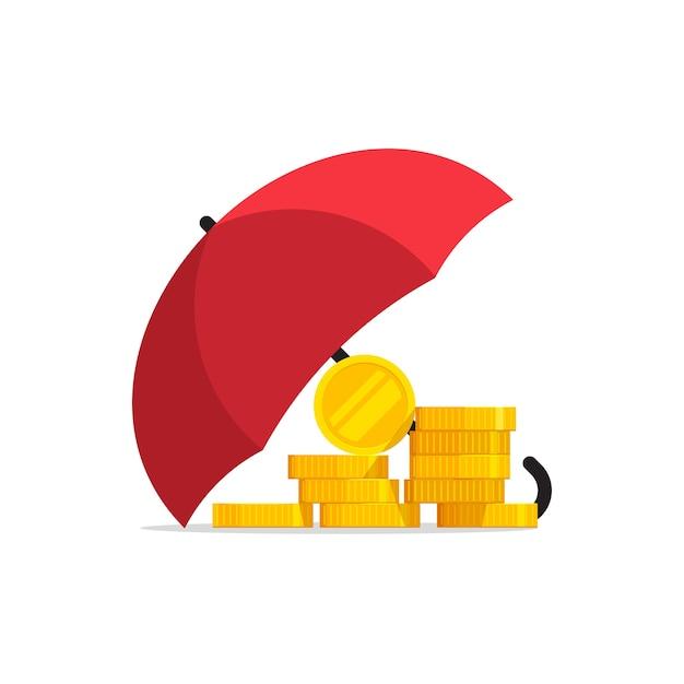 Geldverzekering onder paraplu illustratie op witte achtergrond Premium Vector