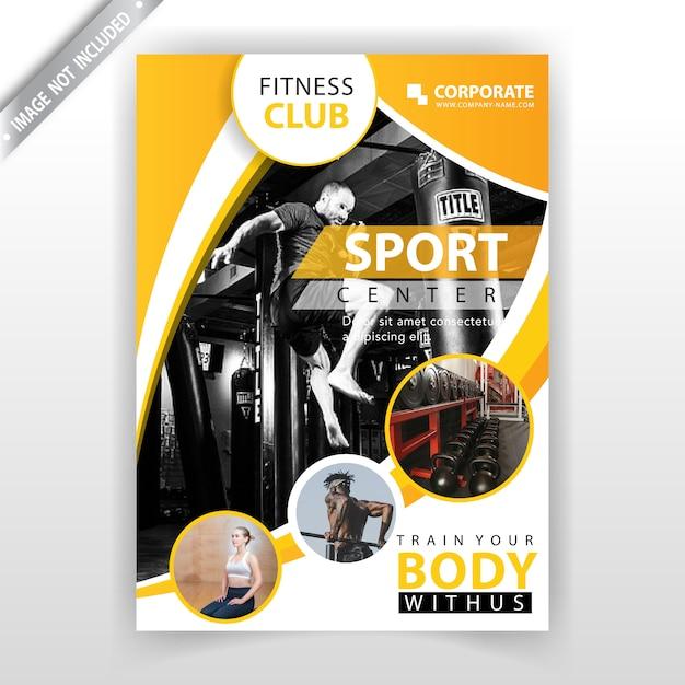 Gele abstracte fitness-flyer Gratis Vector