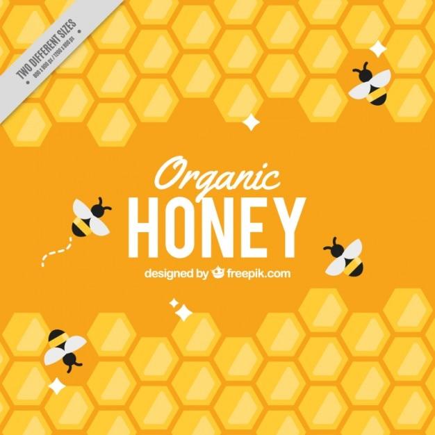 Gele achtergrond korf met bijen Gratis Vector
