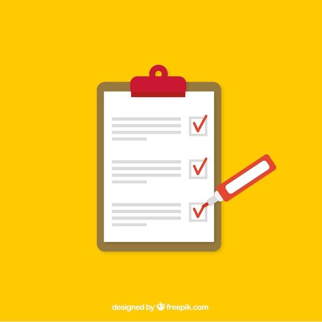 Gele achtergrond met checklist en marker Gratis Vector