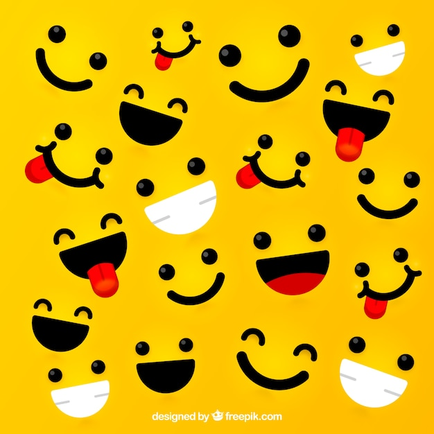 Gele achtergrond met expressieve gezichten Gratis Vector
