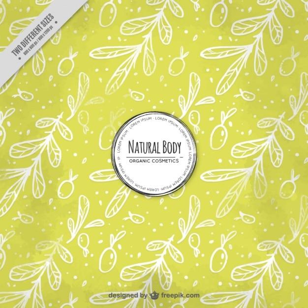 Gele achtergrond met olijfbladeren Gratis Vector