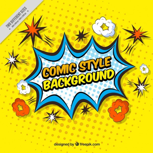 Gele achtergrond van komische effecten in pop stijl Gratis Vector