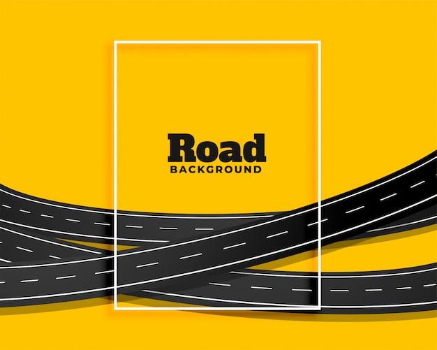 Gele achtergrond van kromme de buigende wegen Gratis Vector