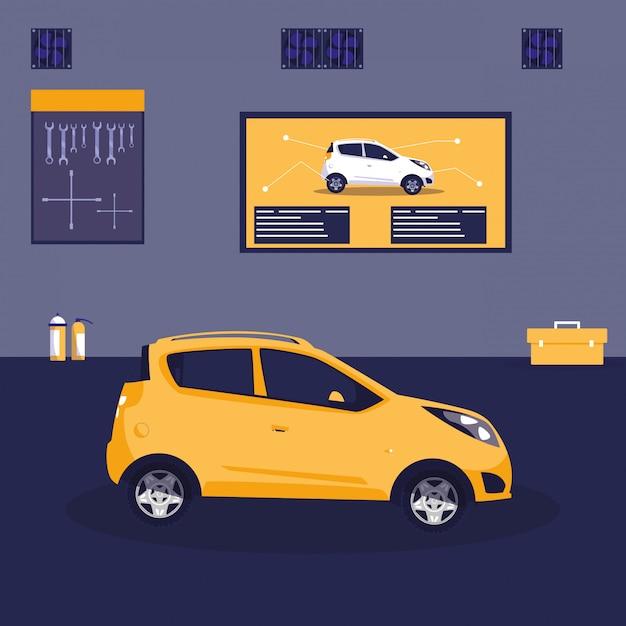 Gele auto in onderhoudsworkshop Premium Vector
