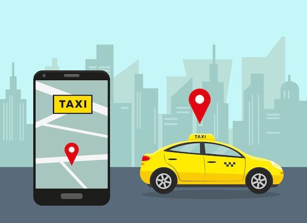 Gele auto in stad en smartphone met taxi mobiele app. Premium Vector