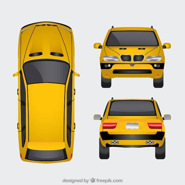 Gele auto in verschillende uitzichten Gratis Vector