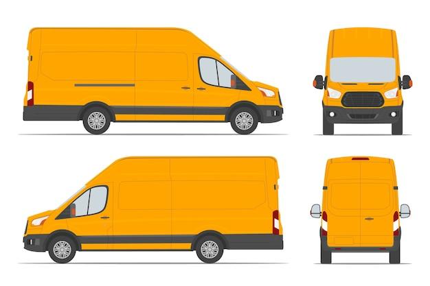 Gele bestelwagen voor leveringsgoederen in verschillende zichtzijde, achterkant, voorkant. Premium Vector