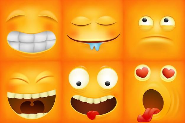 Gele cartoon emoticon vierkante pictogrammen instellen. Premium Vector