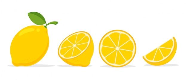 Gele citroen. citroen is een fruit dat zuur is en een hoge vitamine c heeft. het voelt fris aan. Premium Vector