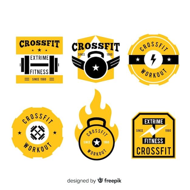 Gele crossfit logo templates-collectie Gratis Vector