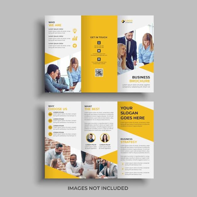Gele driebladige brochure ontwerpsjabloon Premium Vector