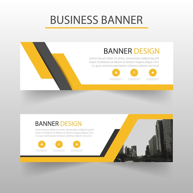 Gele driehoek abstract banner template ontwerp Gratis Vector