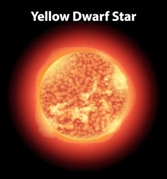 Gele dwergster op donkere ruimte Gratis Vector