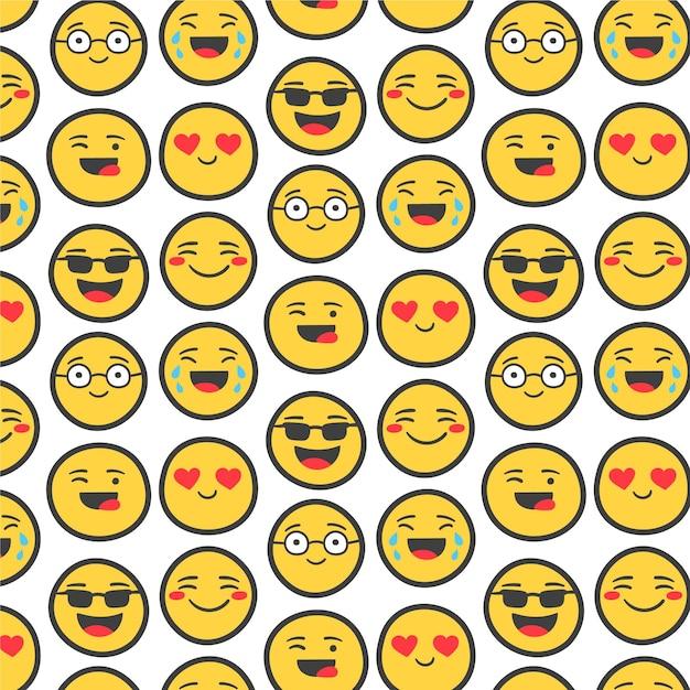 Gele emoji's met overzichts naadloze patroon sjabloon Gratis Vector