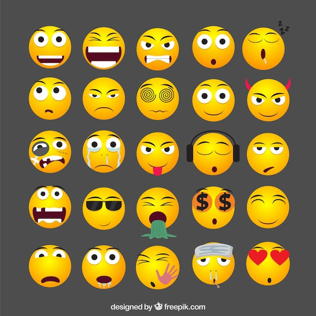 Gele emoticons collectie Gratis Vector