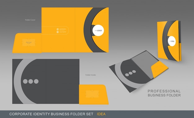 Gele en grijze bedrijfsmap Gratis Vector