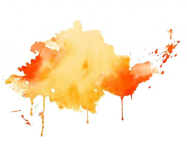 Gele en oranje aquarel plons textuur achtergrond Gratis Vector