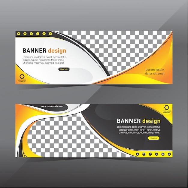 Gele en zwarte abstracte banner Premium Vector