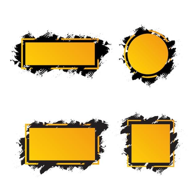 Gele frames met zwarte penseelstreken voor tekst, banners verschillende vormen Premium Vector