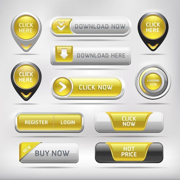 Gele glanzende web elementen knop set Premium Vector