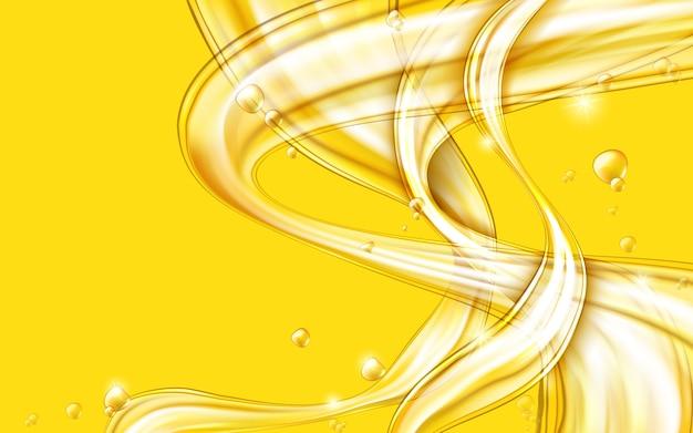 Gele gouden stromende vloeibare abstracte vector Gratis Vector