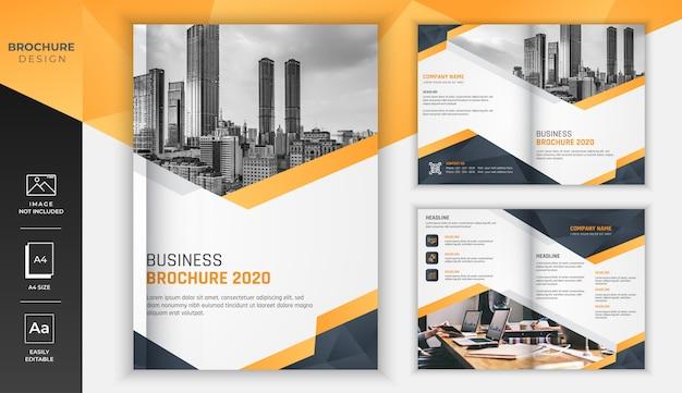 Gele gradiënt moderne zakelijke brochure met zwarte diamant snijden ontwerp Premium Vector