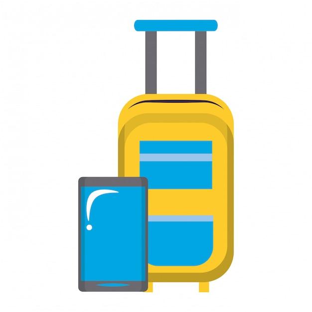 Gele handbagage en smartphone Premium Vector