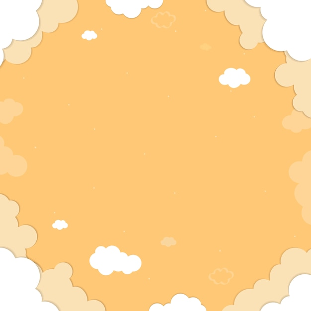 Gele hemel met wolken gevormde achtergrondvector Gratis Vector
