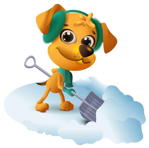 Gele hond reinigt sneeuw met schop. Premium Vector