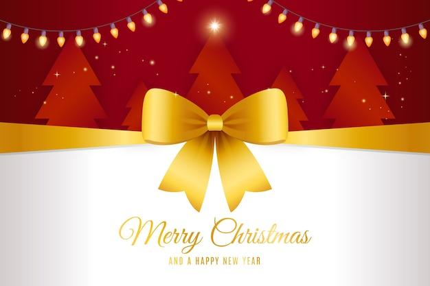 Gele kerst lint achtergrond Gratis Vector
