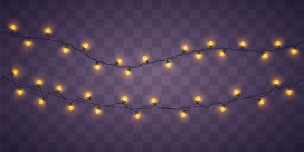 Gele kerstverlichting. kerstmis gloeiende slinger. Premium Vector