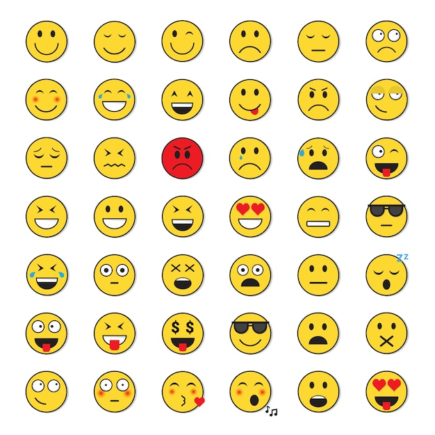 Gele lachende gezicht positieve en negatieve mensen emotie icon set Premium Vector