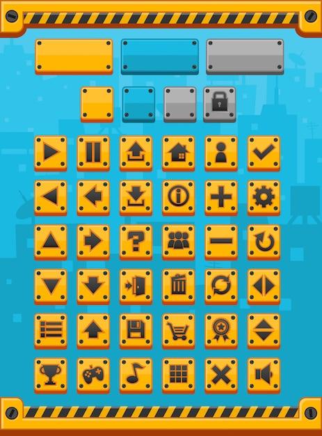 Gele metalen spelknoppen Premium Vector
