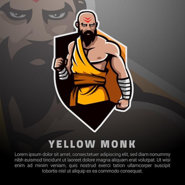 Gele monnik illustratie Premium Vector