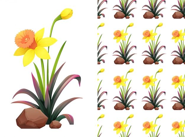 Gele narcis bloemen patroon Gratis Vector