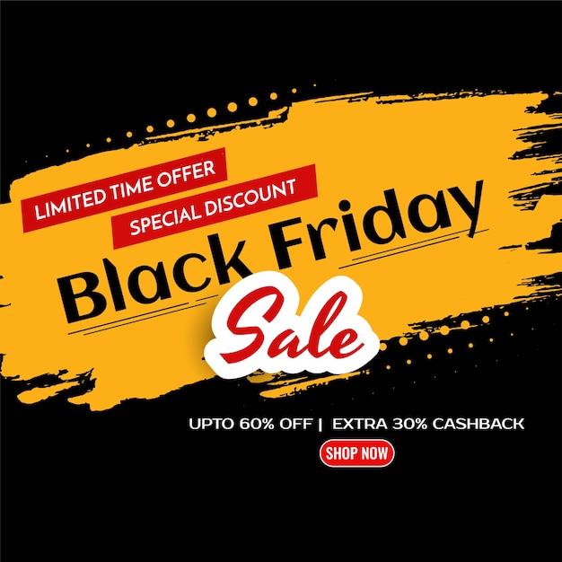 Gele penseelstreek zwarte vrijdag verkoop korting achtergrond Gratis Vector