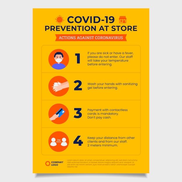 Gele poster voor coronaviruspreventie Gratis Vector