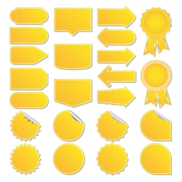 Gele prijskaartjes Premium Vector
