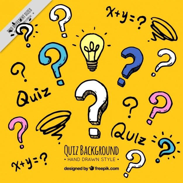 Gele quiz achtergrond in de hand getekende stijl Gratis Vector