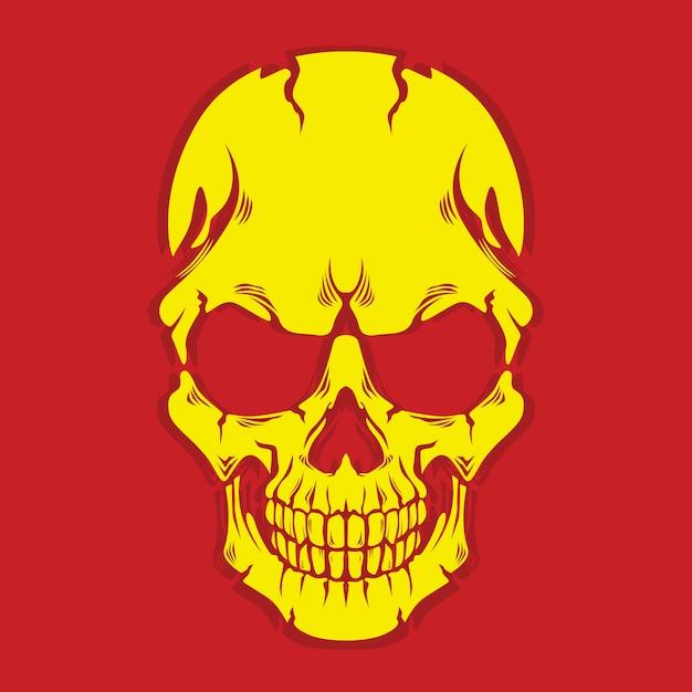 Gele schedel Premium Vector