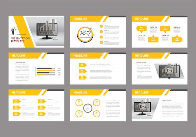 Gele sjabloon voor diapresentatie op achtergrond. Premium Vector