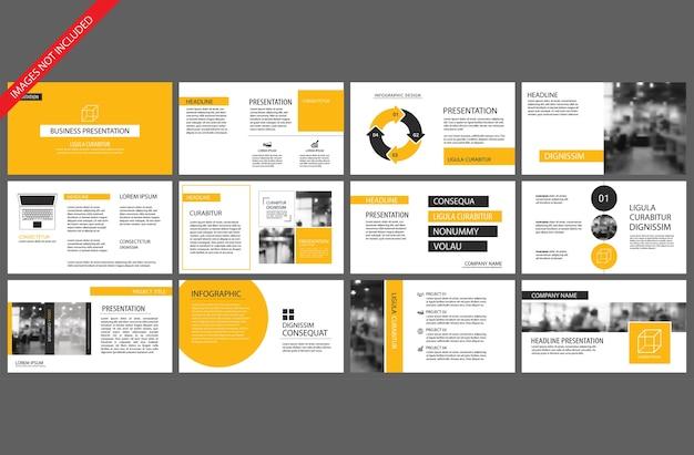 Gele sjabloon voor powerpoint presentatie presentatie Premium Vector