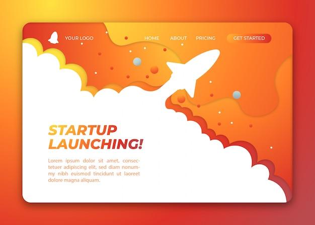 Gele startup lancering met raket concept illustratie bestemmingspagina sjabloon Premium Vector