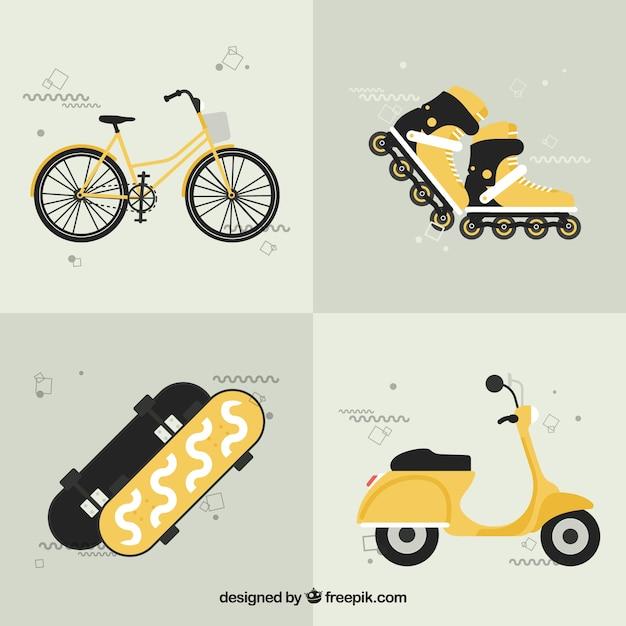 Gele stedelijke transporten Gratis Vector