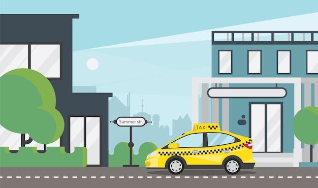 Gele taxi op stadsweg plat Gratis Vector